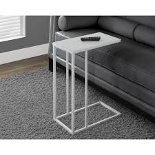 white metal accent table with frosted tempered glass i 3037