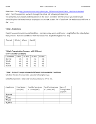 name plant transpiration labclass period directions go to http