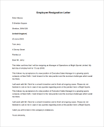 sle resignation letter resignation letter format sle for employee 28 images