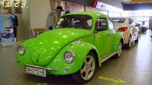 green volkswagen beetle 2016 mariupol ukraine october 29 2016 exhibition of retro cars
