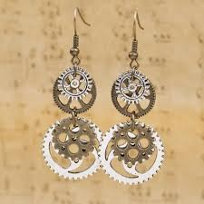 unique clock women u0027s unique clock watch parts hook earrings silver gold tone