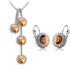 round crystal necklace images Rhinestone silver gold plated jewelry set free shipping worldwide jpg