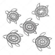 set of five decorative ornamental turtles stock vector