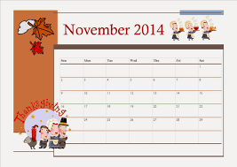 free printable november 2014 calendar for thanksgiving