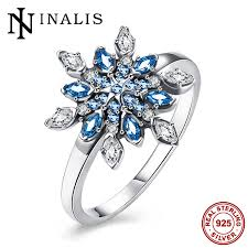sted rings 925 sterling silver party jewelry dazzling snowflake rings for
