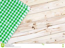 Wooden Table Top View Green Checkered Tablecloth On Wooden Table Top View Stock Photo