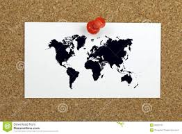Pin World Map by Push Pin Holding Card With World Map On A Cork Board Royalty Free