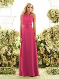 chiffon halter neckline long bridesmaid dress with satin sash