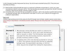 lindy company u0027s auditor discovered two errors no chegg com
