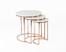 marble top nesting tables china ravenna nesting table in white and rose gold marble top end