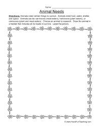 animal needs worksheet 1