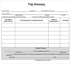 generic business travel itinerary and planner template doc sample