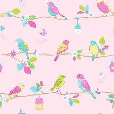 buy fine decor pretty birds hoopla wallpaper pink
