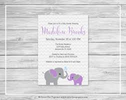 purple and grey baby shower invitations elephant baby shower invitation printable baby shower