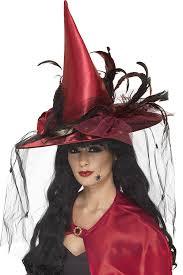 amazon com smiffy u0027s women u0027s witch hat net u0026 feathers red one