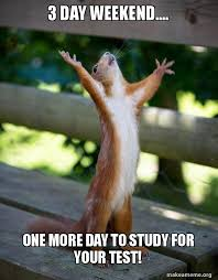 3 Day Weekend Meme - 3 day weekend one more day to study for your test happy