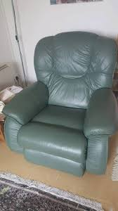 lazy boy green leather recliner vgc in hailsham east sussex