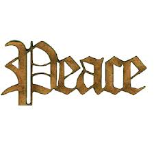 peace wood word cut out in olde font