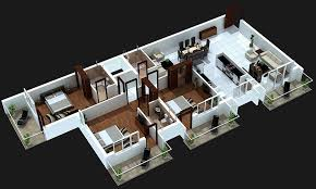 3 Bedroom House Plans 3d Design With 3 Bathroom House Design Ideas House Plan Designs In 3d
