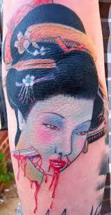 tattoos by r c tattoos page 1 geisha head with dagger