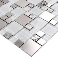 Glass Mosaic Tile Backsplash SSMT Silver Metal Mosaic Stainless - Glass and metal tile backsplash