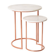 marble top nesting tables white muse marble copper nesting tables oliver bonas