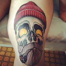skull of sailor with a pipe for skull tattoos