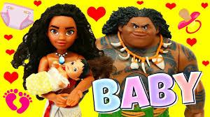 moana u0026 maui baby disney princess u0026 barbie doll parody