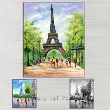 hand painted the eiffel tower picture on canvas paris street