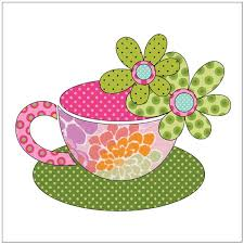tea cups pink applique