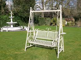 Swing Bench Outdoor antique cream 2 seater garden metal swing bench the somerset