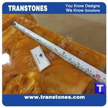 Yellow Reception Desk Manufacture Solid Surface Golden Spray Chain Artificial Marble