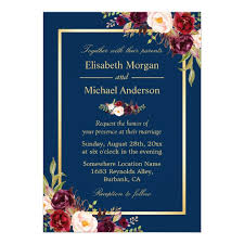 navy blue wedding invitations rustic burgundy floral gold navy blue wedding card zazzle
