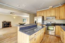 kitchen island area kitchen area in empty house kitchen island with granite top stock