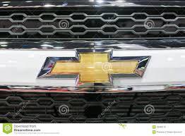 logo chevrolet close up of chevrolet logo on captiva car at the 35th bangkok