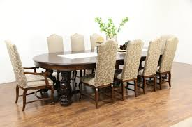 oak griffin carved 1900 antique dining table 7 leaves extends 12