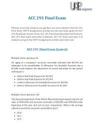 uop e assignments acc 291 final exam questions and answers
