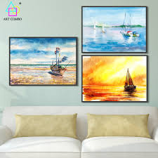 Boat Decor For Home by Frameless Painting Beautiful Landscape Beach Boat Wall Art Picture