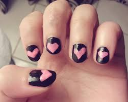 nail art with pink hearts pink and black nails tutorial youtube