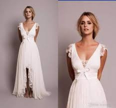 discount vintage lace hi lo beach wedding dresses 2018 v neck