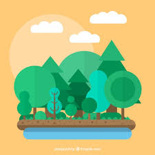 flat design forest in flat design vector free