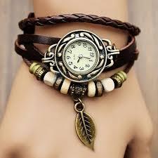 vintage leather bracelet watches images Womens retro leather bracelet tree leaf decoration quartz wrist jpg