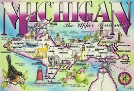 peninsula michigan map michigan peninsula map postcard us us 3 wishes tag f flickr