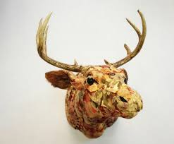 Home Interior Deer Picture by Artist Makes Life Sized Faux Taxidermy Animals From Upcycled