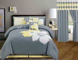 Amazon King Comforter Sets Amazon Com Yellow Grey White Floral Bed In A Bag Queen Size