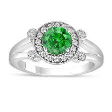 green engagement ring green engagement ring 14k white gold unique halo 1 03