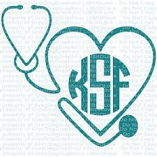 monogram initials custom stethoscope heart monogram decal your initials 3 letters