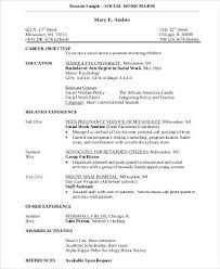 sample social worker resume no experience social worker major