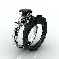 black gold wedding sets black and gold wedding ring black gold wedding ring sets
