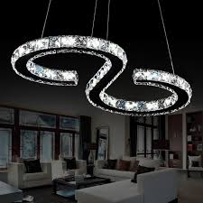 eline modern chrome chandelier crystals diamond ring 24w led lamp stainless steel hanging light fixtures adjule